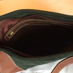 Bally Bags - Bally bag. Lined green suede with tan leather